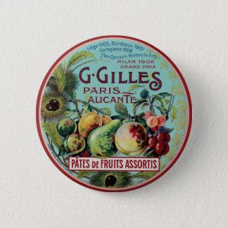 Vintage French Fruit Label Pinback Button