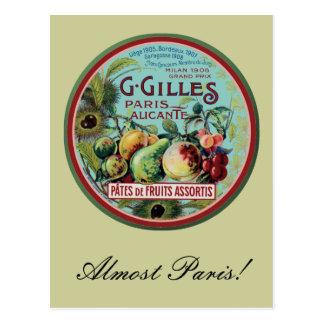 Vintage French Fruit Label Postcard