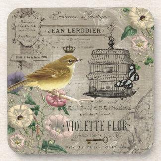 Vintage French garden bird coaster