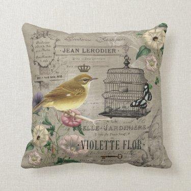 Vintage French garden bird pillow