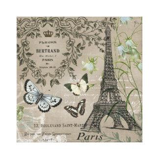 Vintage French garden Eiffel Tower stretchedcanvas Canvas Print