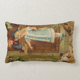 Vintage French Girl Feeding Chickens - Pillow