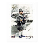 Vintage French Girl Winter Post Card