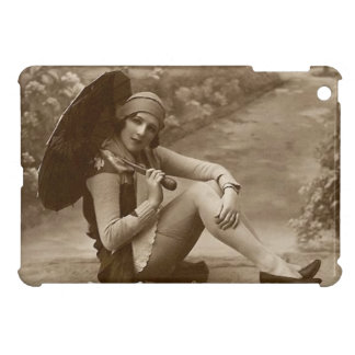 Vintage French Girl with Umbrella iPad Mini Covers