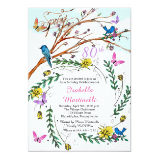 French birthday invitations announcements zazzle vintage french handdrawn florals 80th birthday card stopboris Image collections