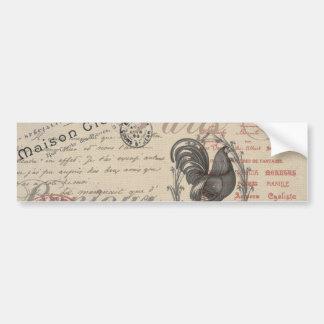 Vintage French Handwriting Paris Rooster Bumper Sticker
