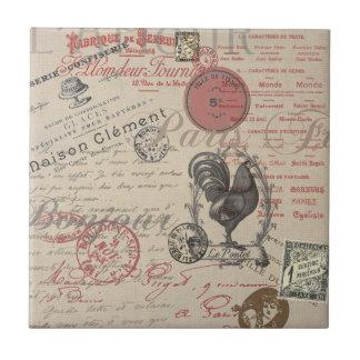 Vintage French Handwriting Paris Rooster Ceramic Tile
