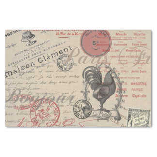 """Vintage French Handwriting Paris Rooster 10"""" X 15"""" Tissue Paper"""
