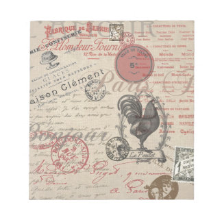 Vintage French Handwriting Paris Rooster Notepad