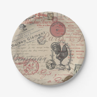 Vintage French Handwriting Paris Rooster Paper Plate