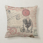Vintage French Handwriting Paris Rooster Pillow