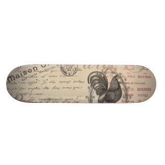 Vintage French Handwriting Paris Rooster Skate Board Deck