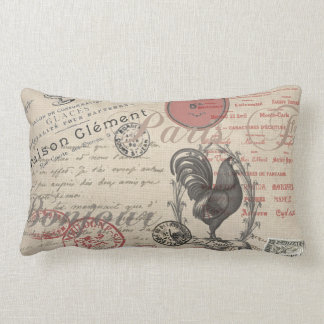 Vintage French Handwriting Paris Rooster Throw Pillow
