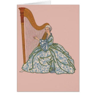 Vintage French Harpist Notecards and Postcards Greeting Cards