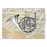 Vintage French Horn Music Card