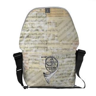 Vintage French Horn Music Messenger Bag