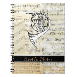 Vintage French Horn Music Spiral Notebook
