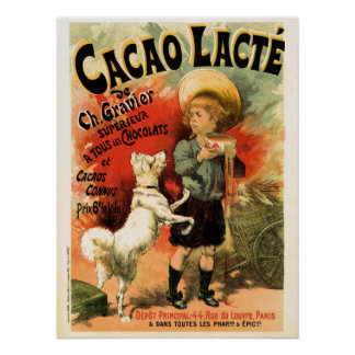 Vintage French hot chocolate drink ad Poster