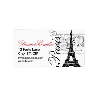 Vintage French Illustrated Eiffel Tower Custom Address Label