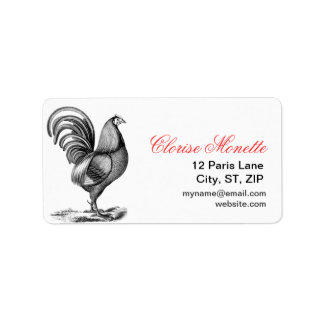 Vintage French Illustrated Rooster Label Address Label
