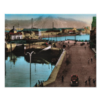 Vintage French image, Cherbourg 1930 Poster