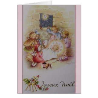 Vintage French Joyeux Noël Nativity Christmas Card