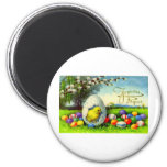 VINTAGE FRENCH JOYUEUX PAQUES 2 INCH ROUND MAGNET