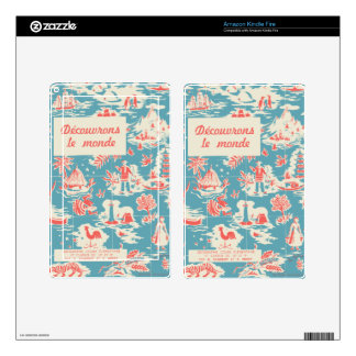 Vintage French Kids Book Cover Kindle Fire Skin