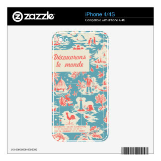 Vintage French Kids Book Cover iPhone 4 Decal