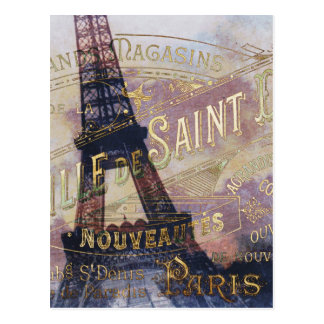 Vintage French Label and Eiffel Tower Postcard