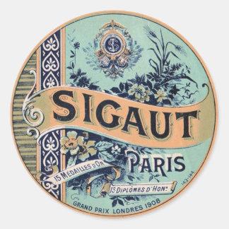 Vintage French Label Classic Round Sticker