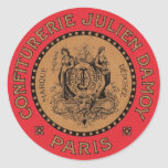 Vintage French Label Classic Round Sticker