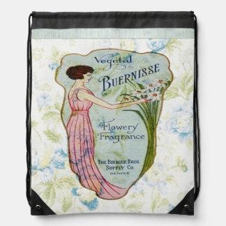 Vintage French Label over Wallpaper Backpack