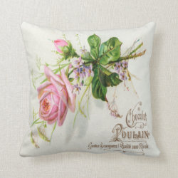 Vintage French label Square Throw Pillow