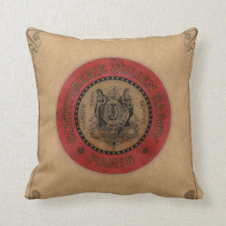 Vintage French Label Throw Pillow