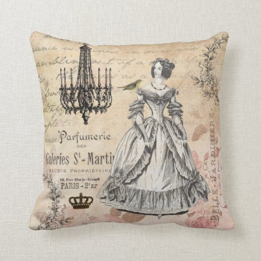 Vintage French lady shabby chic pillow Zazzle