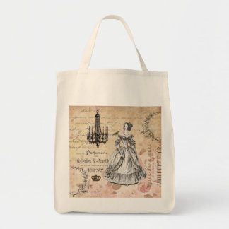 Vintage French lady shabby chic tote bag