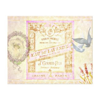 Vintage French Lavender Perfume Collage Canvas Print