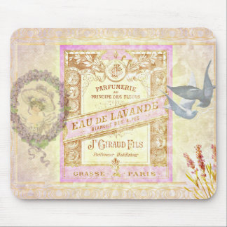 Vintage French Lavender Perfume Collage Mouse Pad