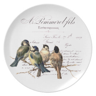 Vintage French Letter and Birds Dinner Plate