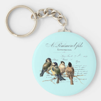 Vintage French Letter and Birds Keychain