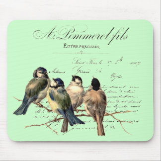 Vintage French Letter and Birds Mouse Pad