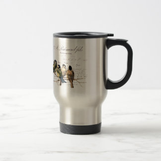Vintage French Letter and Birds 15 Oz Stainless Steel Travel Mug