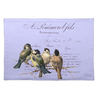 Vintage French Letter and Birds Place Mats