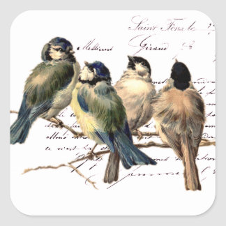 Vintage French Letter and Birds Square Sticker