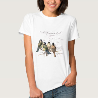 Vintage French Letter and Birds T Shirt