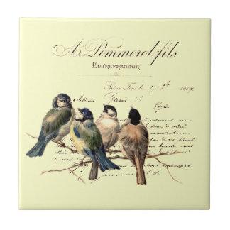 Vintage French Letter and Birds Tile