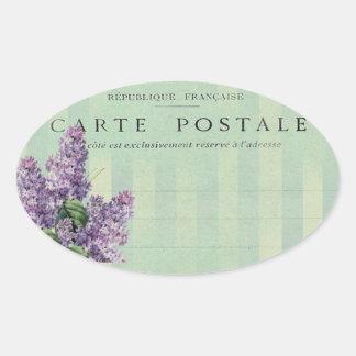 Vintage French Lilac  Carte Postale Oval Sticker