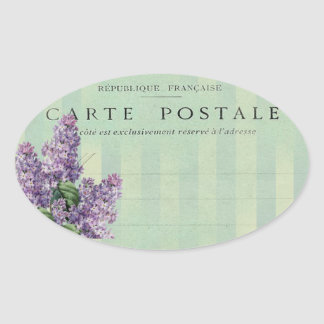 Vintage French Lilac  Carte Postale Oval Sticker