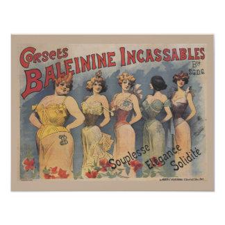 Vintage French Lingerie Wedding Shower 4.25x5.5 Paper Invitation Card